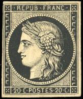 * 20c. Noir Intense. 1 Filet Court Mais Non Touché. TB. - 1849-1850 Ceres