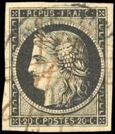 O 20c. Noir Obl. Grand Cachet à Date + Plume. SUP. - 1849-1850 Ceres