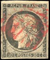 O 20c. Noir S/jaune. Obl. CàD Rouge + Points Noirs. Aminci Mais TB. - 1849-1850 Ceres