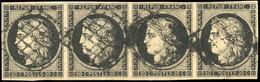 O 20c. Noir S/jaune. Bande De 4 Obl. Grille. TB. - 1849-1850 Ceres