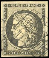 O 20c. Gris-noir. Obl. Grille Légère. SUP. - 1849-1850 Ceres