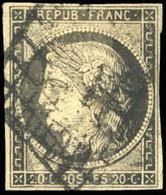 O 20c. Gris-noir. Obl. Grille. Effigie Dégagée. TB. - 1849-1850 Ceres