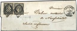 O 20c. Noir S/jaune, Paire Tête-Bêche, Obl. Grille S/fragment De Lettre Frappée Du CàD De CHAUME Du 5 Février 1849 à Des - 1849-1850 Ceres