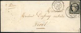 O 20c. Noir (déf.) Obl. S/lettre Frappée Du CàD D'ANGERS Du 1er Janvier 1849 à Destination De NIORT. Au Verso, Cachet D' - 1849-1850 Ceres