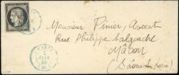 O 20c. Noir S/blanc Obl. S/lettre Frappée Du CàD Bleu Du 2 Janvier 1849 à Destination De MACON. Arrivée Le 3. Qualité Ex - 1849-1850 Ceres