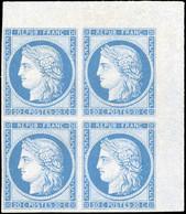 * 20c. Bleu. Bloc De 4. Coin De Feuille. Réimpression Granet. Charnière Légère S/paire Supérieure. SUP. - 1870 Besetzung Von Paris