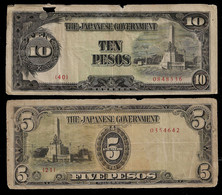 PHILIPPINES - WWII JAPANESE GOVERNMENT BANKNOTE - 2 NOTES 5 & 10 PESOS (NT#05) - Other