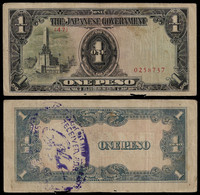 PHILIPPINES - WWII JAPANESE GOVERNMENT BANKNOTE - 1 PESO (1943) P#109a WITH STAMP VF (NT#05) - Other