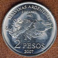Argentina 2 Pesos 2007, 25th Anniversary Malvinas Islands Occupation, KM#144.1, Unc - Argentina