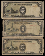 PHILIPPINES - WWII JAPANESE GOVERNMENT BANKNOTE - 3 NOTES 5 PESOS (NT#05) - Other