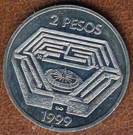 Argentina 2 Pesos 1999, 100th Ann. Birth Of Jorge Luis Borges, KM#128, AUnc - Argentina