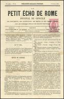 O 2c. Rose-carminé Obl. Sur Journal LE PETIT ECHO DE ROME N°50 Du 13 Février 1870. SUP. - Zeitungsmarken (Streifbänder)
