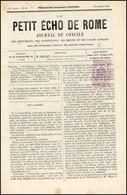 O 2c. Violet Obl. Sur Journal Complet LE PETIT ECHO DE ROME Du 7 Novembre 1869. SUP. - Zeitungsmarken (Streifbänder)