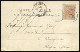 O Coupé Gauche Du 20c. Obl. S/carte Postale Frappée Du CàD Bleu 3 Décembre 1901 à Destination De THANGARNIER - ALGERIE.  - Non Classés