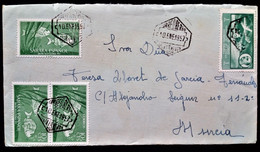857 SAHARA AFRICA OCCIDENTAL ESPAÑOLA VILLA CISNEROS 1957 CORREO AÉREO AIR MAIL FRANCO PECES FRANQUEO MIXTO RARO - Spanish Sahara