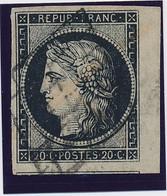 20 C Noir S Blanc N° 3 A Obl Grille Bdf Signé Calves SUP. - 1849-1850 Ceres