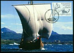 Mk Greenland Maximum Card 2000 MiNr 350 | Greenland Vikings. Viking With Gyr Falcon, Polar Bear, Walrus Tusks And Straps - Maximum Cards