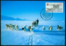 Mk Greenland Maximum Card 2000 MiNr 346 | 50th Anniv Of Sirius (naval Sledge Patrol). Huskies Pulling Sledge - Maximum Cards