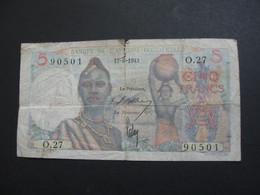 5 Francs 1943 - Banque De L'Afrique Occidentale **** EN ACHAT IMMEDIAT **** - Other