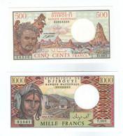 Djibouti Gibuti 1000 Francs 1991 Pick 37 E/et 500 FRANCS 1988 PICK 36 Afar Et Issa UNC NEUF UN Chameau Camel Cammello - Djibouti