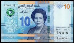 NEW 2020-10 Dinars UNC-set Of 2 Notes-//série De 2 Billets De 10 Dinars-N° Consécutifs ( ENVOI GRATUIT) /(FREE SHIPPING) - Tunisia