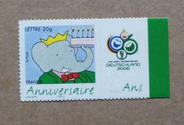 """P1-M2 : Timbre Pour Anniversaires, 75 Ans De L'éléphant Babar (avec Vignette """"Football 2006"""") - Personnalisés"""