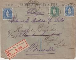 SUISSE : AFFRANCHISSEMENT A 1 Fr . REC . CHARGE . DE BALE POUR LA BELGIQUE . 1902 . - Briefe U. Dokumente