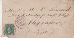 """SUISSE : N° 45 . DE """" YVERDON """" . POUR L'EGYPTE . ENTAILLES DE PURIFICATION . 1884 . - Briefe U. Dokumente"""