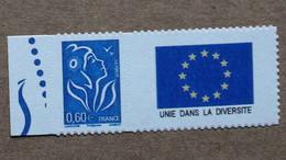 """P1-M2 : Autoadhésif - Marianne De Lamouche Avec Une Vignette Sans Valeur """"UNIE DANS LA DIVERSITE"""" (drapeau Européen) - Personnalisés"""