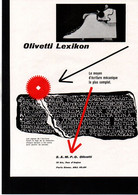 BUREAUTIQUE - Publicité Papier - Coupure Presse - Année 1953 - Olivetti Lexicon Machine à écrire - Publicidad