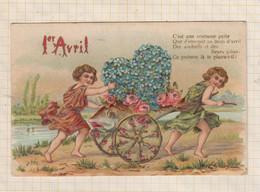 21B915 1er AVRIL CHARIOT POISSON FLEURS C'est Une Coutume Polie Que D'envoyer Au Mois D'Avril Des Souhaits.... - April Fool's Day