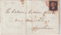 GRANDE - BRETAGNE : N° 1 . ( 2 ème CHOIX ) . TARIF SUR LES PRIX DU COTON A LIVERPOOL . 1840 . - Covers & Documents