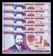 Mozambique Lot Bundle 5 Banknotes 5.000 Meticais 1991 Pick 136 SC UNC - Mozambique