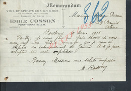 LETTRE COMMERCIALE DE 1918 EMILE COSSON VINS À PONTHIERRY : - Levensmiddelen