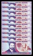 Mozambique Lot Bundle 10 Banknotes 5.000 Meticais 1991 Pick 136 SC UNC - Mozambique