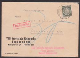Hintersee über Eggesin (Mecklenburg) 20 Pf. Dienst Mit Nachgebühr Wegen Gewicht, VEB Vereinigte Sägewerke Ueckermünde - Dienstpost