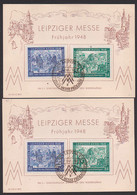Leipzig Messe 1948 Zwei So-Karten über 5,- RM Mit Dv, SoSt. 2.3.48, Gedenkblatt, Zollschranken - Zona AAS