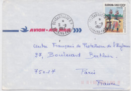 Enveloppe De Ouagadougou 5 Septembre 1987 Pour Paris  Par Avion - Burkina Faso (1984-...)
