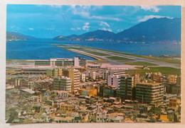 Old Postcard KAI TUK Airport Lyemoon Pass China Hong Kong Flughafen 1960's - China (Hong Kong)