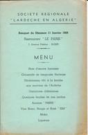 """Menu Offert Parla Sté Régionale """"L'Ardèche En Algérie"""" En 1959 - Menu"""