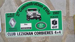 Plaque   Rallye 1987  2 E Concentration D Ete  Club Lezignan Corbiere 4x4  24  X 39 Cm En Plastique Dur - Plaques De Rallye