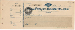 Portugal , 1920 , Banco Português Do Continente & Ilhas , Check ,  Cheque , Decade Of 20 - Cheques & Traveler's Cheques