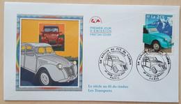 FDC 2002 - YT N°3474 - LE SIECLE AU FIL DU TIMBRE / TRANSPORTS / 2 CV - PARIS - 2000-2009