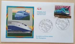 FDC 2002 - YT N°3475 - LE SIECLE AU FIL DU TIMBRE / TRANSPORTS / TGV - PARIS - 2000-2009