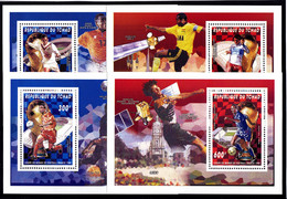 Soccer World Cup 1998 - SPACE - CHAD - 4 S/S De Luxe MNH - 1998 – Francia