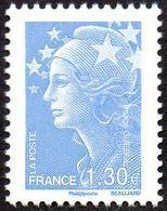 France Marianne De Beaujard N° 4344 ** Le 1.30 Bleu Ciel, Dentelé, Gommé - Bonnet Phrygien - Etoile - 2008-13 Marianne Of Beaujard