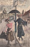 2681) VOIE PONT - 2 Frauen Mit Hut Und SCHIRM - STRAßENBAHN KUTSCHE KIRCHE LITHO - Gel. WIEN 02.01.1907 !! - Unclassified