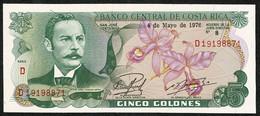 Banco Central De Costa Rica * 5 Colones * 04.05.1976 * Prefix D * P236c * UNC - Costa Rica