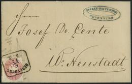 ÖSTERREICH 26 BRIEF, 1863, 5 Kr. Rosa Auf Brief Mit R4 OEDENBURG Nach W. Neustadt, Pracht - Gebraucht
