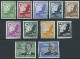 Dt. Reich 529-39x *, 1934, Flugpost, Senkrechte Gummiriffelung, Falzreste, Prachtsatz, Mi. 100.- - Ungebraucht